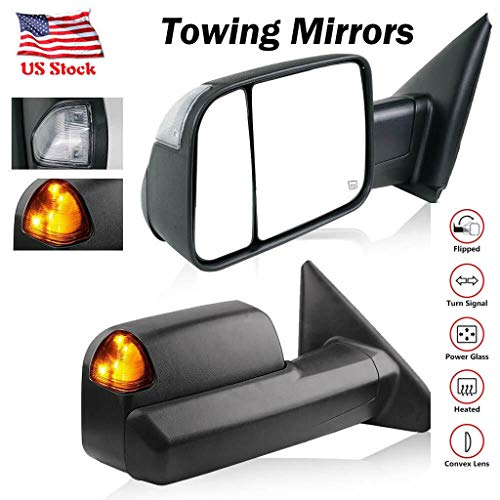 XGao Towing Mirrors Passenger and Driver Side Power Operated and Heated with A Pair On-Glass LED Turn Signal Mirror for Dodge Ram 1500 02-08 Dodge Ram 2500 3500 03-09 Manual Folding (Black) (Replacement Folding Direct Oe)