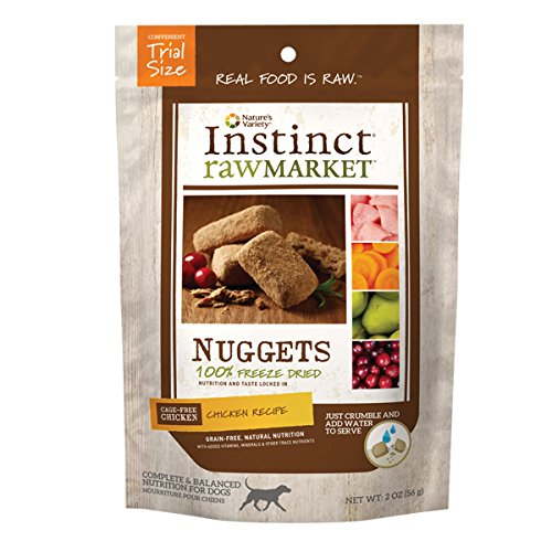 Instinct Freeze Dried Raw Market Nuggets Grain Free Chicken Recipe Natural Dog Food by Nature's Variety, 2 oz. Trial Size Bag
