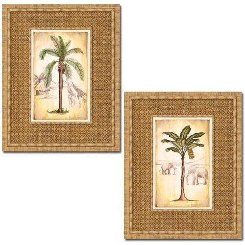 Gango Home Decor Set of 2 Tropical Palm Tree Prints Elephant Giraffe 16 x 20 (Palm Tree Bathroom Decor)