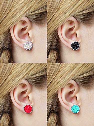 15 Pairs Faux Druzy Stud Earrings Set Stainless Steel Round Earrings Bohemian Pierced Earrings Jewelry for Women