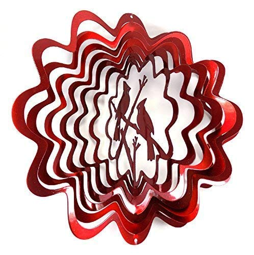 WorldaWhirl Whirligig 3D Wind Spinner Hand Painted Stainless Steel Cardinal (12