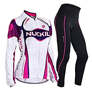 NUCKILY Women's Thermal Fleece Cycling Jacket And Pants Suit Small