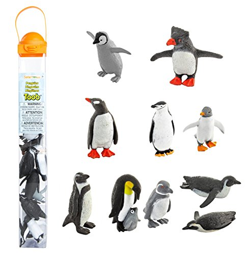 Safari Ltd Penguin TOOB With 10 Fun and Flightless Figurines, Including Gentoo, Humboldt, Chinstrap, Rockhopper, Galapagos, Adelie, Swimming, Sliding, Baby, And Penguin With Baby  Ages 3 And Up (Action Figurine)