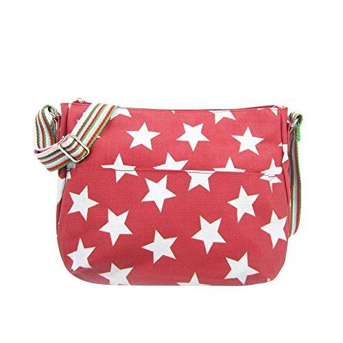 LADIES STAR Dark Red STRAP BAG SHOULDER PRINT NEW CANVAS MULTICOLOUR CROSSBODY rOBHpfrZ