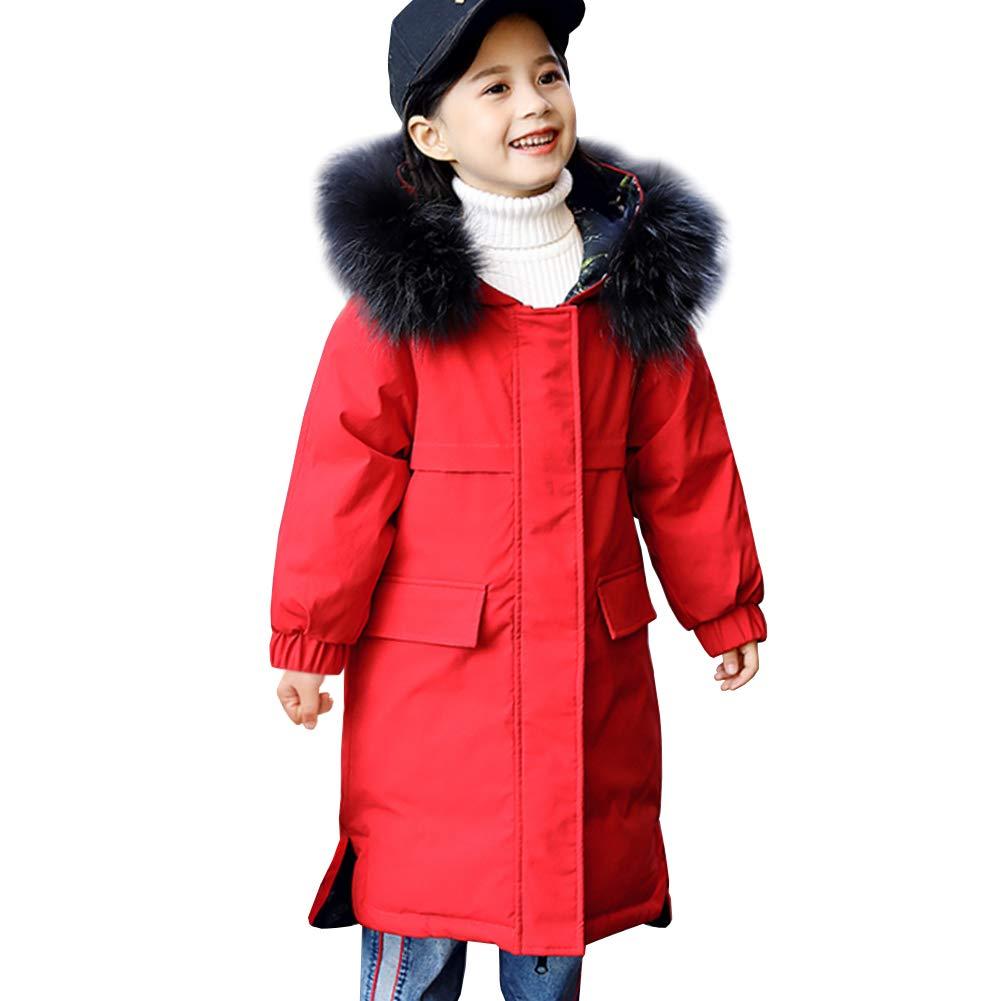 Rouge 7-8 ans SXSHUN Manteau Fille Enfant Trench-Coat Hiver Doudoune Parka épaissie Chaud VêteHommest de Neige Ski Garçon Blouson à Capuche Fourrure Faux Porté Deux Côtés