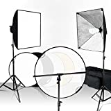LimoStudio 20 x 28 inch Soft Box Lighting Kit with 43 inch Diameter Reflector 5 Color in 1 Disc Panel, Soft Lighting for Photo Video Studio Environment, Portrait Product Image Shooting, AGG2613