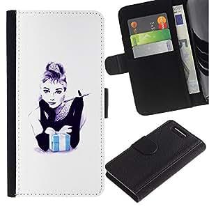 LASTONE PHONE CASE / Lujo Billetera de Cuero Caso del tirón Titular de la tarjeta Flip Carcasa Funda para Sony Xperia Z1 Compact D5503 / Gift Black White Minimalist Fashion