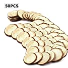 "Fuhaieec 50pcs 2.8-3.2"" (Thickness:1cm) Unfinished Natural Wood Circles with Tree Bark Log Discs for DIY Craft Christmas Rustic Wedding Ornaments"