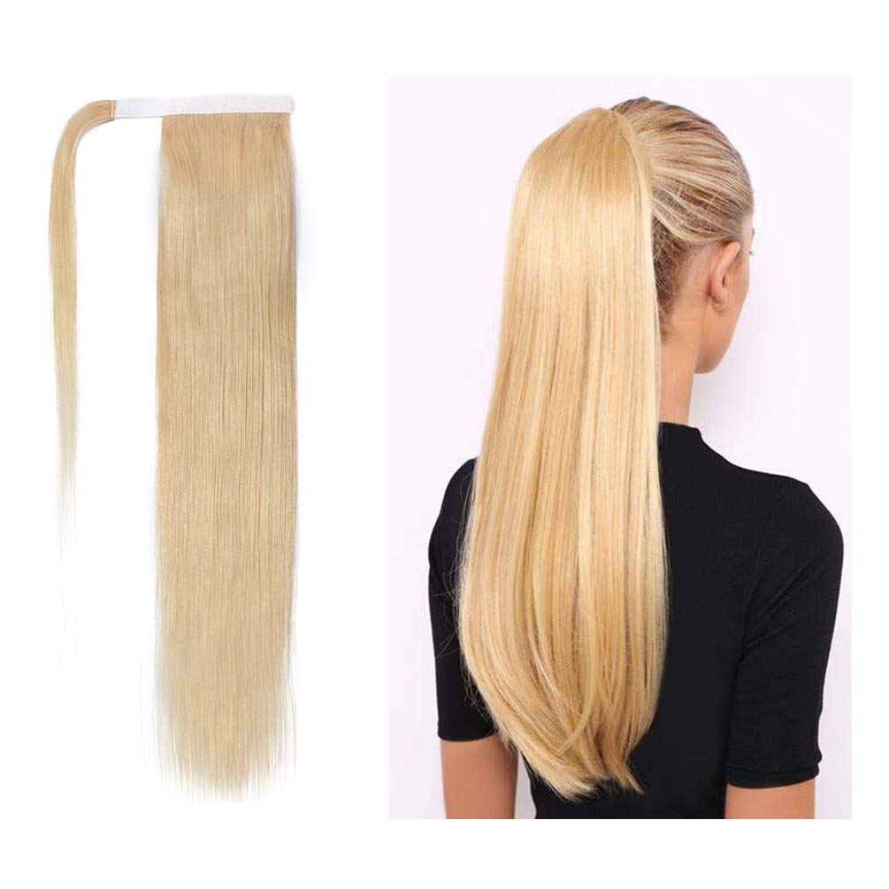 S-noilite 20 Inch Wrap Around Human Hair Ponytail Extensions for Women Clip in Remy Human Hair Ponytail Hairpiece Long Straight Silky #613 Bleach Blonde by S-noilite