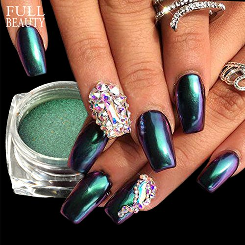 POYING Full Beauty Chameleon Mirror Magic Powder Nail Glitter Holographic Gradient Dazzling Pigment Nail Dust Decoration Box CHB821/801 by POYING