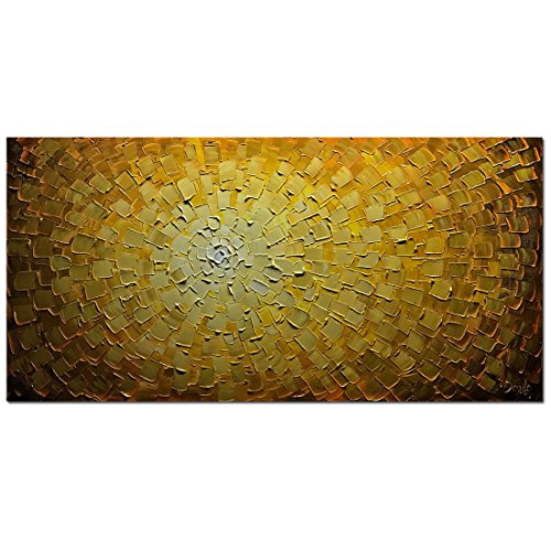 V-inspire Paintings, 24x48 Inch Oil Hand Paintings Modern Framed Art 3D Hand-Painted Abstract Artwork Golden Flowers Pictures on Canvas Wall Art Ready to Hang for Living Room Bedroom Home Decorations