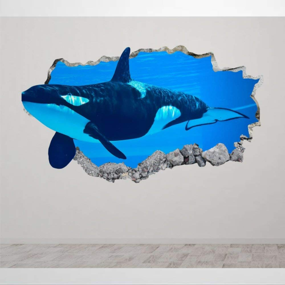 Orca Whale Killer Animal 3D Wall Stickers Mural Smashed Wall Art Creative Removable Poster Vinyl Decals for Bedroom Living Room Playroom Nursery Office Shop