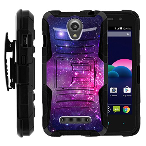 [ZTE Obsidian Case for boys | Z820 Case for girls][Clip Armor]- Hard Rugged Shell, Silicone Bumper with Kickstand & Holster by Miniturtle - Heavenly Stars - Obsidian Mist