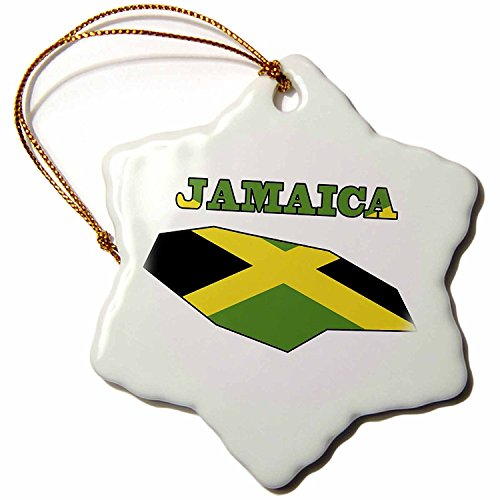 3dRose orn_58778_1 Jamaican Flag in The Outline Map and Word Jamaica Snowflake Decorative Hanging Ornament, Porcelain, 3-Inch