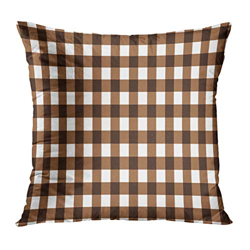 LOULNN Throw Pillow Cover Abstract Brown and White Gingham Checkered Diagonal Flannel Geometric Decorative Pillow Case Home Decor Square 16x16 Inches Pillowcase (Gingham White Brown)