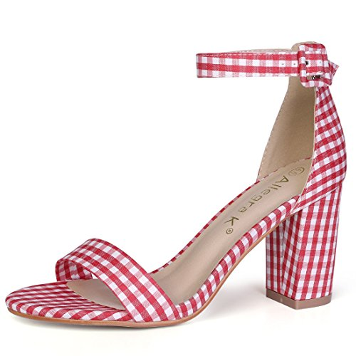 (Allegra K Women's Plaids Ankle Strap Block Heel Red Sandals - 10.5 M US)