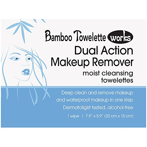 Remover Dual Action Makeup (Bamboo Towelette Works Dual Action Make-Up Remover Moist Cleansing Towelette, 25 Count)