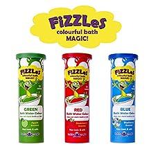FiZZLeS! Tabletas mágicas efervescentes para colorear el agua de la bañera/tina. Jugando y aprendiendo en colores 3 tubos (Colores Rojo, Azul, y Verde) Contenido 10 tabletas cada uno Por Zentraedi