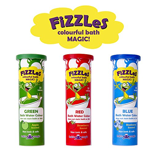 Bath Magic FiZZLeS Colorful Bath Bomb Tablets for Kids, Non Toxic and Safe Ingredients, Irritant Free, 30 Tablets, Red Blue and Green
