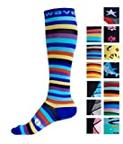 Compression Socks (1 pair) for Women & Men by Wave - Best For Running, Athletic Sports, Crossfit, Flight Travel, Maternity Pregnancy, Nursing (Navy Stripes, S/M)