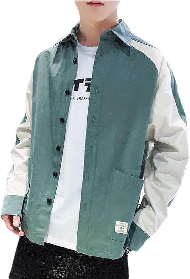 WSPLYSPJY Mens Color Contrast Long Sleeve Dress Shirt Slim Fit Button Down Shirts