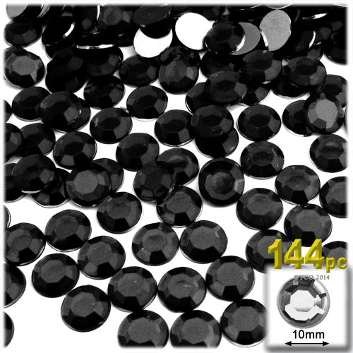 The Crafts Outlet 144-Piece Flat Back Acrylic Round Rhinestones, 10mm, Jet Black ()