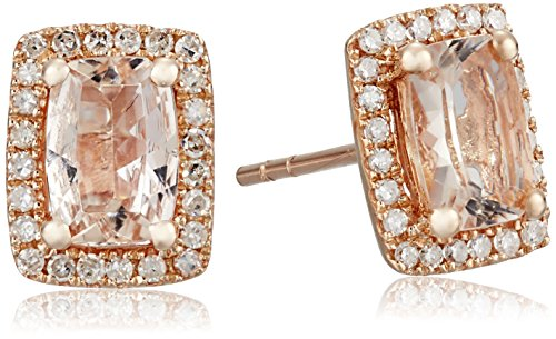 10k Rose Gold Morganite and Diamond Princess Diana Cushion Halo Stud Earrings (1/5cttw, H-I Color, I1-I2 (10k I1 Earrings)