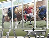 Window Mural Contender Of Soccer window sticker window film window tattoo glass sticker window art window décor window decoration Size: 56.7 x 113.4 inches