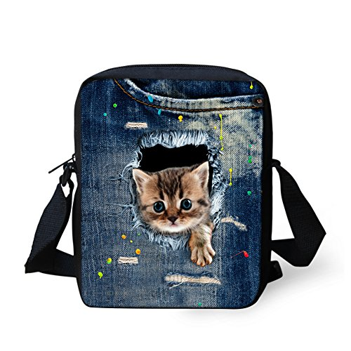 - Bigcardesigns Animal Cat Print Teenagers Sling School Bag