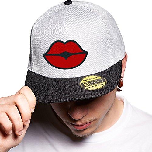 Lips Grey Black Cap Original Gorra Snapback Unisex, Ajustable, con Visera Plana y Logotipo Urbano Bordado.