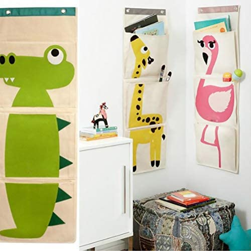 Ruiting H/ängeorganizer mit 3 Taschen Ordnungssystem f/ür Wohnzimmer Kinderzimmer Schlafzimmer M/ädchenzimmer Jungezimmer H/ängeaufbewahrung Krokodil 1 St/ück