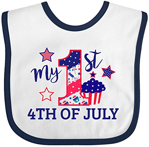 (Inktastic - My 1st 4th of July with Stars and Cupcake Baby Bib White/Navy 29cc9)