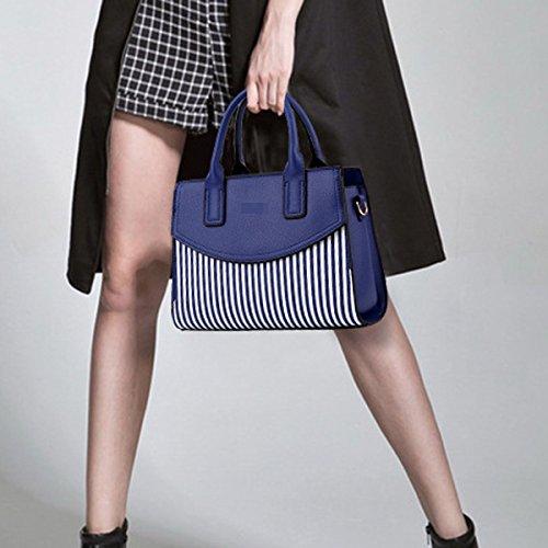 Las Mujeres De Moda Stripe Pu Bolso De Cuero Bolsa De Hombro Bolsa Crossbody Multicolor Blue