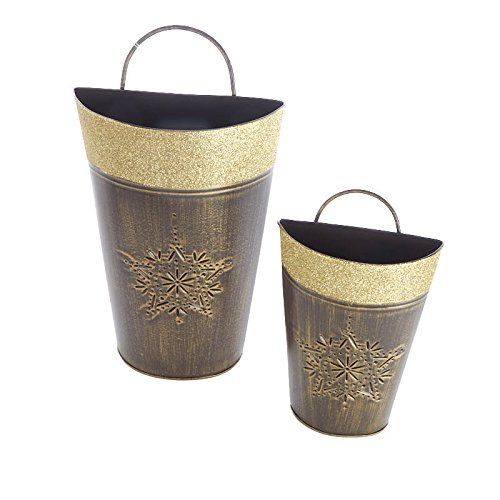 Set of 2 Snowflake Embossed Assorted Size Gold Glitter Trimmed Metal Wall Pockets for Crafting, Creating and Displaying