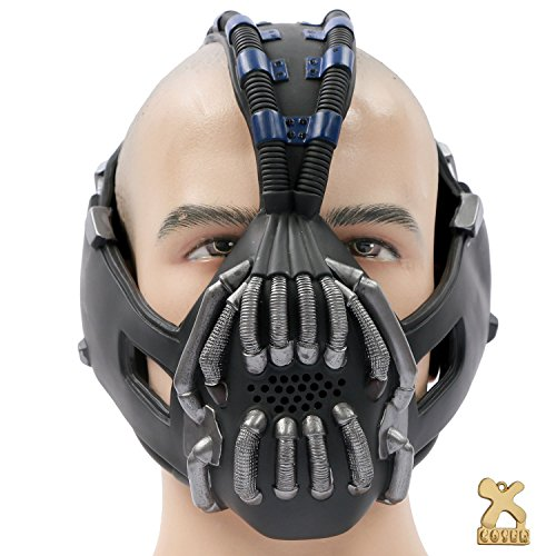 Bane Mask Costume Props TDKR Full Adult Size - New Gun Metal Version (Bane Mask Voice Changer)