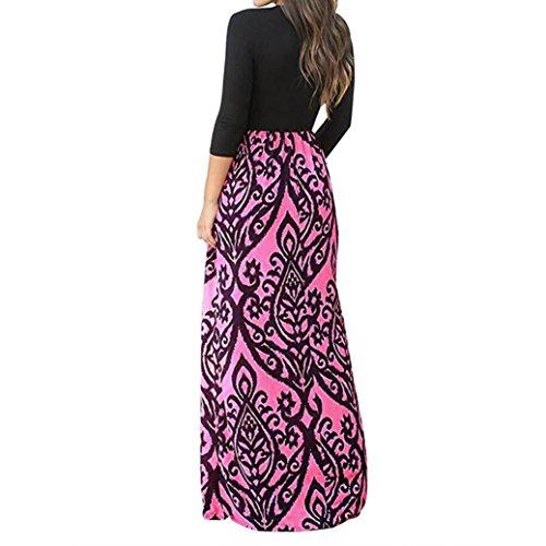 fminine Longues Longues Jimma Manches Cross Robe Mesdames Longue Taille Manches Imprimer Haute Romantique Robe Vif Mode Robe Rose Bohme pIPIq