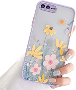 Ownest Compatible with iPhone 7 Plus/8 Plus Case with Clear Frosted PC Back 3D Floral Girls Woman and Soft TPU Bumper Protective Silicone Slim Shockproof Case for iPhone 7 Plus/8 Plus-Pink