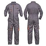 NORMAN Grey Work Wear Men's Overalls Boiler Suit Coveralls Mechanics Boilersuit Protective (S)