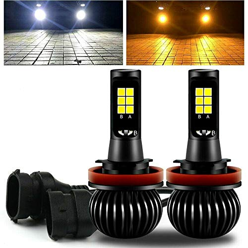 (GTP High Power H11 H8 H9 Switchback LED Fog Light Bulb Dual Color 6000K White 3000K Yellow DRL Driving Bulbs Replacement (Not for Headlight))