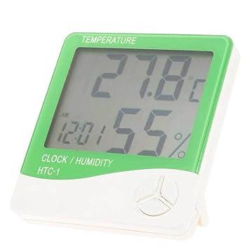 Termómetro Digital Higrómetro Humedad Casa ambiente Reloj Calendario verde
