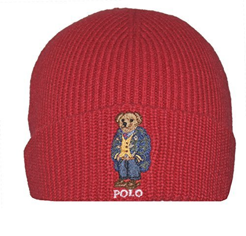2763f3d0e94d23 Galleon - Polo Ralph Lauren Mens Polo Bear Knit Fashion Winter Hat (Tudor  Red/Twead, One Size)