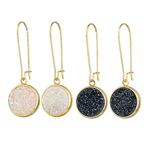 SUNYIK Round Natural Crystal Druzy Kidney Hook Dangle Earrings for Women, Black/White AB Aura, Pack of 2