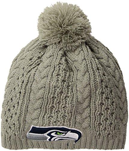 NFL Seattle Seahawks Women's Valerie OTS Beanie Knit Cap with Pom, Gray, Women's (Winter Womens Seahawks Hat)