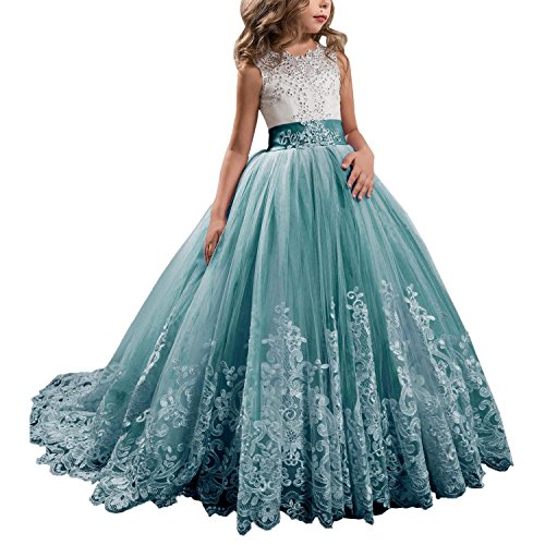 (KSDN Wedding Flower Girls Dress Lace Tulle Communion Pageant Gown with Bow Teal Custom)