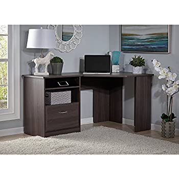 Amazon Com Cabot L Shaped Desk In Heather Gray Kitchen