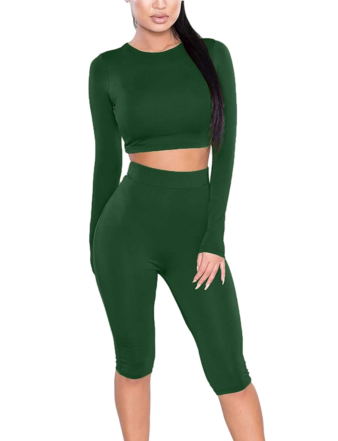Amilia Womens Sexy Long Sleeve Crop Tops High Waist Leggings 2 Piece Bodycon  Set Casual Outfit Tracksuit at Amazon Women s Clothing store  1f42a6630