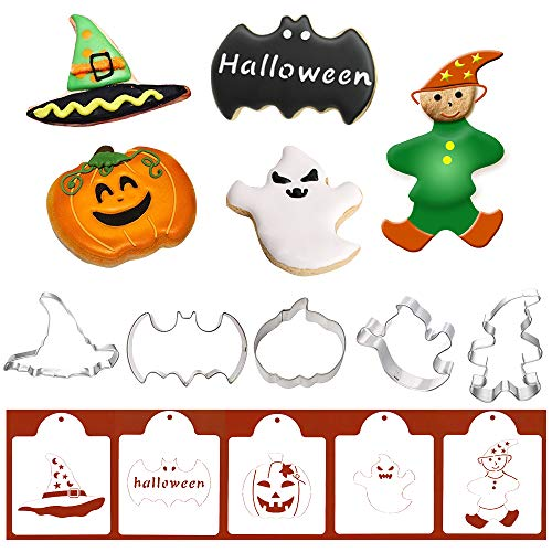 Halloween Cookie Cutters with Matching Cookie Stencils - Set of 10-5Pcs Cookie Cutter and 5Pcs Stencils, Include Bat, Pumpkin, Ghost, Magician and Witch's Hat
