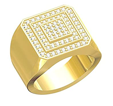 48a277daf52 Spangel Fashion Designer 18 ct. Gold Plated American Diamond Jewellery Ring  For Men  Amazon.in  Jewellery