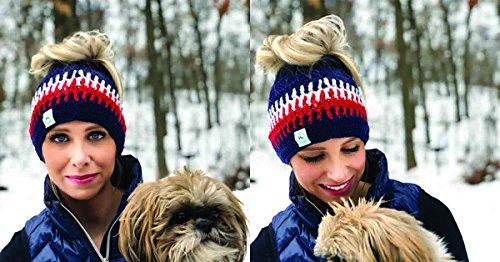 Trending New England Patriots Inspired Crochet Messy Bun Beanie & Ponytail Beanie Hats (USA Multi)