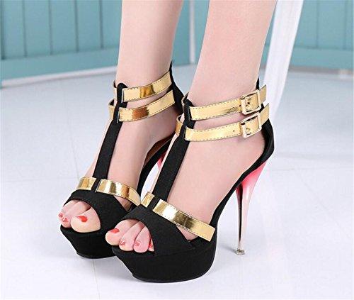 SHUNLIU Damen Sommer Sandalen Damen Knöchelriemchen High Heels Peep Toe Plateau Sandalen mit Schnalle Stiletto Pumps Schuhe mit hohen Absätzen Schwarz